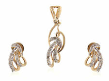 0.48 Cts Round Brilliant Cut Natural Diamonds Pendant Earrings Set In 14K Gold