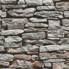 MOROCCAN WALL NATURAL SLATE STONE WALLPAPER ARTHOUSE VIP 623000 GREY BRICKS