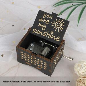Music Box You are My Sunshine Wooden Music Box Crafts Hand Crank Kids Gift