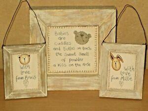 MAMAS & PAPAS Nursery Frames  X 3 Wall Decoration Neutral Love MILLIE & BORIS