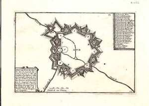Antique map, Ath. Ville Forte des Pais Bas dans le Comte de Hainaut.