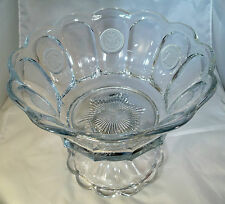 """FOSTORIA COIN CRYSTAL #1372 1-1/2 GALLON 14"""" DIAMETER PUNCH BOWL & FOOTED BASE!"""