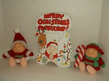 LOT 3~VINTAGE ZIGGY CHRISTMAS~1 DIE-CUT PICTURE, 2 PLUSH~ ZIGGY HOLIDAYJOY, LOVE