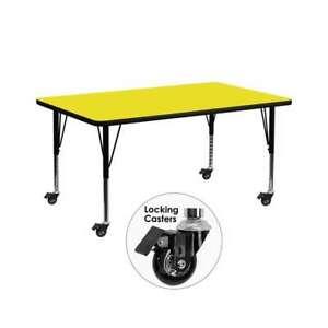 Flash Furniture  Activity Table - XU-A3072-REC-YEL-H-P-CAS-GG