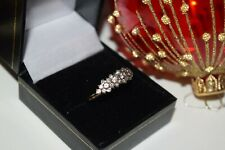 9ct Yellow Gold Clear Cubic Zirconia Cluster Band Ring