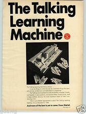 1968 PAPER AD Mattel Toy Talking Learning Machine English French Spanish