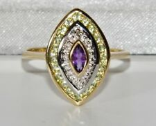 9ct Yellow Gold Amethyst Peridot & Diamond Ring in Suffragette Colours size P