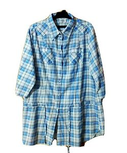 GINA BENOTTI SHIRT SIZE XL CHECK BLUE COTTON 3/4 SLEEVE BUTTON UP  #29A