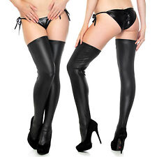 Black Wet Look Faux Leather Thigh-high Stockings Tights+Thong Clubwear