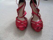 Ladies Coast Red Satin Strappy Sandals UK Size 5 (38)