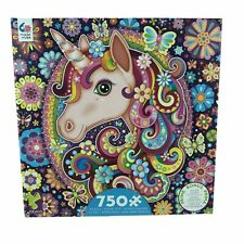 Ceaco Groovy Animals Unicorn 750 Pieces Jigsaw Puzzle Game Family Night + Poster