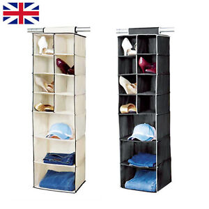 7 Shelf Hanging Wardrobe Storage Organiser Clothes Hang Closet Rack Shelves