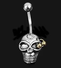 Barra de Vientre Cráneo Gótico Punk Horror Cabeza de Oro Plata Acero Quirúrgico Perforación Del Ombligo