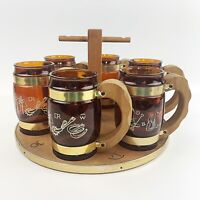 Vtg SIESTA WEAR Brown Glass Western Barrel Mugs Mid Century Barware Wood Carrier
