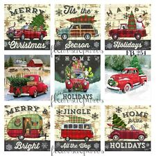 ~ Vintage Christmas Home for the Holidays Red Trucks 9 Prints on Fabric FB 254 ~