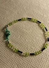 7 1/2 inch Black Bugle Bead and Green White 3 mm Glass beaded bracelet