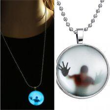 Steampunk Fire Skull Head Women Glow In The Dark Pendant Necklace Hallowmas Gift