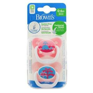 Dr Brown's PreVent Soother Baby's Pacifier Stage 1 Dummies Pink 0-6m 2pk