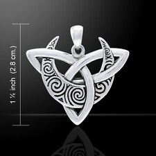 Brigid Ashwood Moon Triquetra .925 Sterling Silver Pendant by Peter Stone