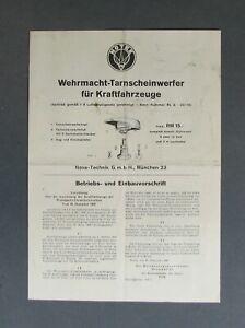 NOTEK Betriebs - und Einbauvorschrift Originaldokument DIN A 4 ca.1940