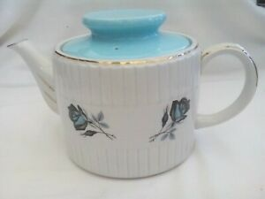Ellgreave (Wood & Sons) teapot, Ironstone, white with blue roses, ridged, 1970s