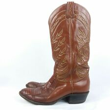 Tony Lama Boots Women's Size 8 (B) Narrow Brown Leather Exotic Skin Style J4347