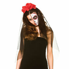 Day of The Dead Veil Fancy Dress Halloween Skeleton Ladies Costume Accessory