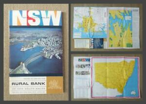 1969 - AUSTRALIA, NSW NEW SOUTH WALES MAP with SYDNEY STREET PLAN - Rural Bank