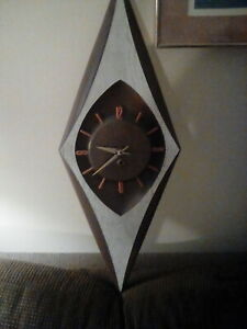 Retro Burwood Products Mid Century Diamond Wall Clock
