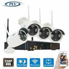 PLV 4PCS 720P Wireless Outdoor IP Camera System with 4 Channel Security HD IP