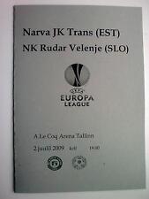 2009 Europa League NARVA TRANS - RUDAR VELENJE Slovenia official programme