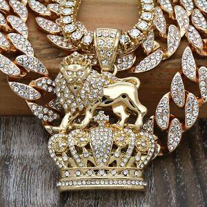 """4 pcs ,14k Gold Plated  LION CROWN Pendant( CZ 20"""", 24"""" Cuban + 20 Tennis Chain)"""