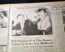 THE MASTERS TOURNAMENT Art Wall, Jr. Wins Golf Major at Augusta 1959 Newspaper