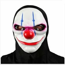 Adult Hooded Freaky Clown Masks Scary Evil Halloween Fancy Dress Accessory