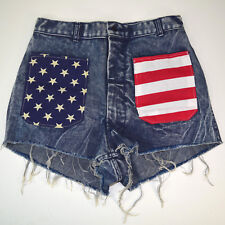 "vtg CUT OFF DENIM SHORTS High Waist 27""-28"" 1986 flag customized military Sale"