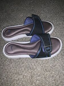 Nike Comfort Footbed Women's Blue Tan White Thong Padded Flip Flops Size 8 EUC