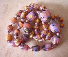 Antico Vintage OPALESCENTE Opal FOIL Vetro Collana Di Perline-VENEZIANA buona lunghezza