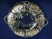 Silver City Silver Overlay Clear Glass Handled Tray Grapes & Vines SCI11