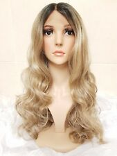 Ombre Ash Sandy Mousey Caramel Blonde Brown Real Human Hair Wig Lace Front curl