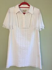 PAUL & JOE SISTER DRESS SIZE 12 BORDER ANGLAISE ANGEL SLEEVES WHITE ORP £250 BNT