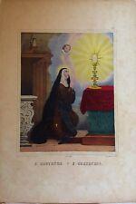 SANTA GERTRUDIS, Ste. GERTRUDE,  litografía original de Turgis,1844-1855