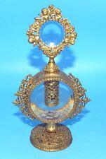VTG. GOLD GILT ORMOLU FILIGREE CHERUB PERFUME BOTTLE BEVEL GLASS ORNATE DAUBER