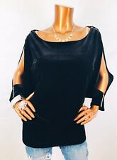 Xscape 1X or 20W Top NWT Velvet Open Cold Shoulders 3/4 Blouse Stretch Black USA