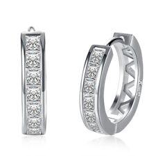 Women's Zircon Circle Earring Shine Ear Clip Silver Plated Fashion Jewelry