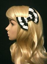 """4"""" Black & White stripes hair bow clip slide accessory Pin up. Beetlejuice. Goth"""