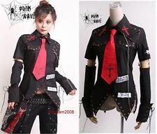 Unisex VISUAL kei PUNK Gothic KERA Lolita shirt top Blouse + Red Tie Black Sz XL