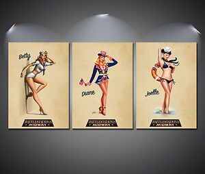 Vintage Pin Up Girls Poster Set - A4-A3-A2 Sized Sets of 3