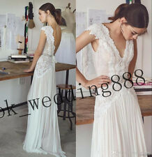 2018 Elegant Cap Sleeve Lace Chiffon Wedding Dress Beach Bridal Gown Custom Made