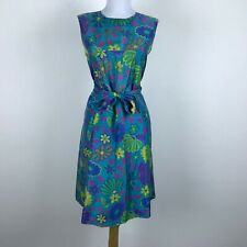Vintage 1960s Psychedelic Shift Dress Floral Sleeveless Silk Blue Pink Yellow M