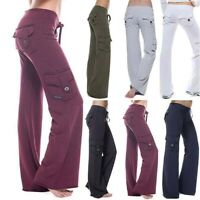 Women Pockets Cargo Loose Gym Running Stretch Pants Yoga Trousers Sport Leggings